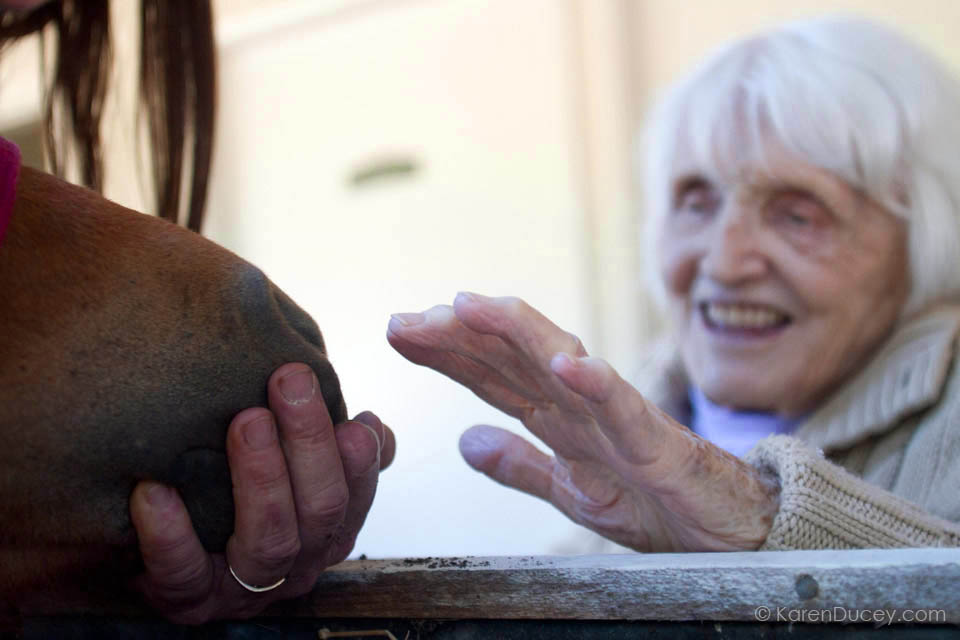 IMAGE: Georgia Lemere pets Tiny Bubbles, a dwarf miniature horse, at the Park Ridge Skilled Nursing Center in Shoreline, Washington (© KarenDucey.com)